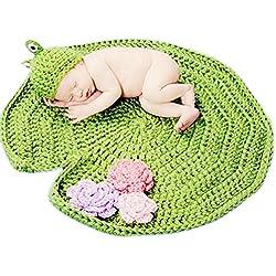 HAPPY ELEMENTS Bebé hecha a mano de ganchillo Gorra Bebé Sombreros Baby Girl Frog con la hoja de loto Fotografía Props traje Set