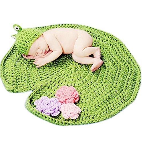 HAPPY ELEMENTS Baby Handgemachte Häkelarbeit Tierbeanie Hüte Baby Frosch mit Lotusblatt Fotografie Stützen Kostüm Set