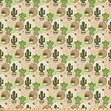 ABAKUHAUS Kaktus Stoff als Meterware, Töpfe und Pflanzen