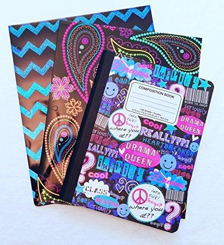 BRIGHT & Bold-Set Portfolio Ordner und Zusammensetzung Notebook Paisley Pop
