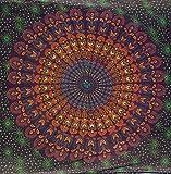 Guru-Shop Dünnes Tuch, Sarong, Mandala Wandbehang, Wickelrock, Sarongkleid, Herren/Damen, Rot/orange/blau, Baumwolle, Size:One Size, 180x110 cm, Bedruckte Tücher Alternative Bekleidung