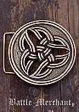 Battle Merchant Cinturón Hebilla–Celta dreifalt Larp gürtelschließe Vikingo Medieval Plata o Bronce, marrón