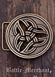 Cinturón Hebilla–celta dreifalt LARP gürtelschließe Vikingo Medieval Plata o bronce, marrón