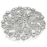 JewelryWe Joyería Broches para Vestidos Novia, Precioso Broche de Mujer Plateado Alfiler con Diamantes de Imitación Atractivo, Flower Love de Boda Matrimonio