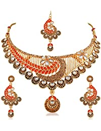Trushi AUTHENTIC DESIGNER ANTIQUE GOLD PLATED CHOKER NECKLACES SET WITH MULTI-COLOUR STONES FOR WOMEN AND GIRLS