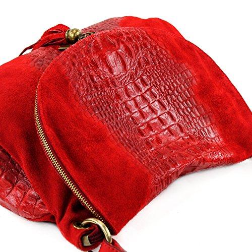 Borsa borsetta a tracolla in pelle in nappa linea donna pelle italiana T68 Rot Wildleder/Kroko Large