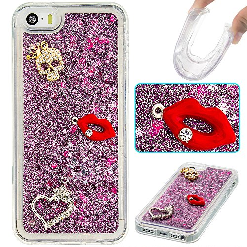 Case iPhone 5 / 5S / SE 3D Bling Diamant Design Coque, Sunroyal Glitter Bling Bling Dual Layer en Soft TPU Silicone Housse Transparent Clair Back Cover Strass Cristal Protecteur Étui Paillettes Flotta A-13