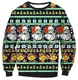 Sweatshirts Damen Weihnachten Rundhalsausschnitt Druck Hässliche Weihnachtsmann Weihnachtsmotiv Pullover Langarm Top Jumper Shirt Mantel Schwarz S