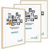 PHOTOLINI Zestaw 3 ramek na zdjęcia 50 x 70 cm, nowoczesna, naturalna płyta MDF ze szkłem akrylowym/ramką na plakaty/wymienna