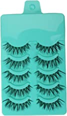 Magideal Beauty Makeup Handmade Messy Cross Style False Eyelashes (Green, MH_54012425) - Pack of 5 Pairs