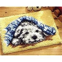 6 Modell Hund Knüpfteppich für Kinder und Erwachsene zum Selber Knüpfen Teppich Latch Hook Kit child Rug Dog046 50 by 38 cm