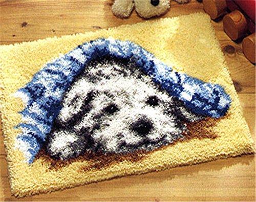 Beyond Your Thoughts Hund Knüpfteppich für Kinder und Erwachsene zum Selber Knüpfen Teppich Latch Hook Kit Child Rug Dog 046 50 * 38 cm -