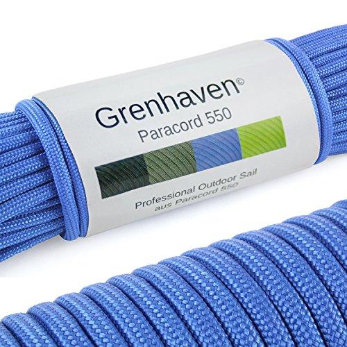 Grenhaven Paracord Seil Blau Fallschirmschnur Universell einsetzbares Survival-Seil mit 7 Strängen 30m 550lbs 100ft aus reißfestem Parachute Cord