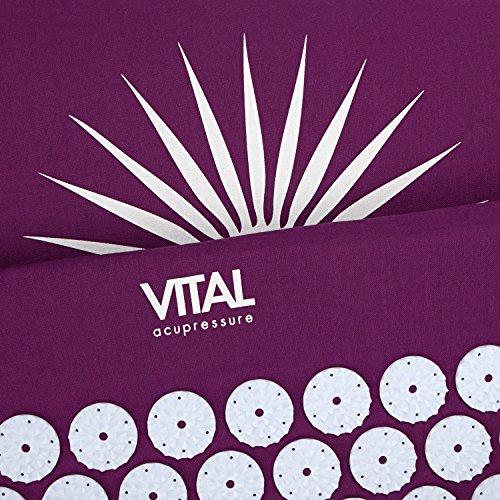 VITAL Akupressurmatten-Set (aubergine): Akupressurmatte (74 x 44cm) & Akupressurkissen im günstigen Set, vitalisierende Matte für den Rücken und Kissen für den Nacken, wohltuende Entspannungsmatte & Kissen - 2