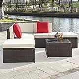 iKayaa 6PCS Divano Rattan Esterno Set Mobilia da Giardino di Vimini Sezionale d'angolo del Sofà Set Tavolo
