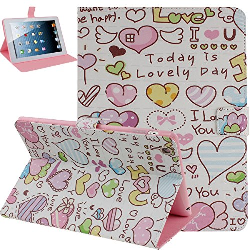 Price comparison product image NSSTAR iPad 4 Case,iPad 2 3 Case,iPad 2 3 4 Case,Flip Case for iPad 2 3 4, Colorful Cartoon Love Heart Pattern Pu Leather Flip Protective Case Cover with Stand for Apple Ipad 2 3 4 (Cartoon Love Heart)
