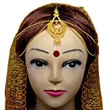 #10: Srijacollections Golden Matha Patti Maang Tikka Exclusive Jewellery Perfect for Indian Bengali Bridal Make up