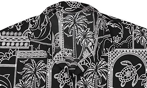 *La Leela* Isola Hawaiana XS Pulsante Campo Manica Corta Giù navigatori Camicia Turchese dei Caraibi Uomini Aloha - 5XL