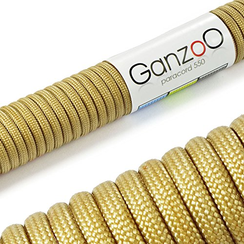 Ganzoo Paracord Universal Survival Rope, Made of Tear-Resistant Nylon Parachute Cord, 250 kg (550 lbs), Total Length 15 Meters (50 ft), Gold
