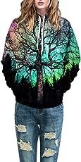MEIbax Felpa Donna con Cappuccio/Maglietta Donna Tumblr/Pullover Donna Cotone/Bluse e Camicie Casual Autunno Inverno/Top Camicetta di 3D Stampa Manica Lunga