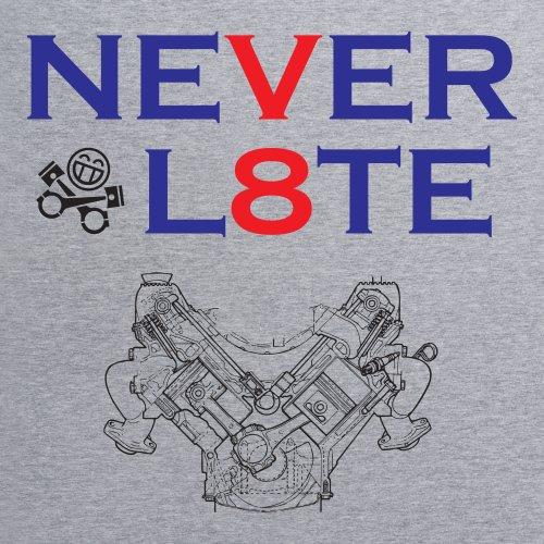 PistonHeads Never Late V8 T-Shirt, Herren Grau Meliert