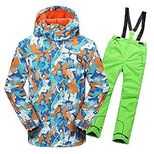 OMSLIFE Jungen Kinder Skianzug Skijacke Regenlatzhose Verdickung Schneeanzug Jacket Skianzüge Kinder Schneeanzug Lang Jacket Wintermantel Skianzüge