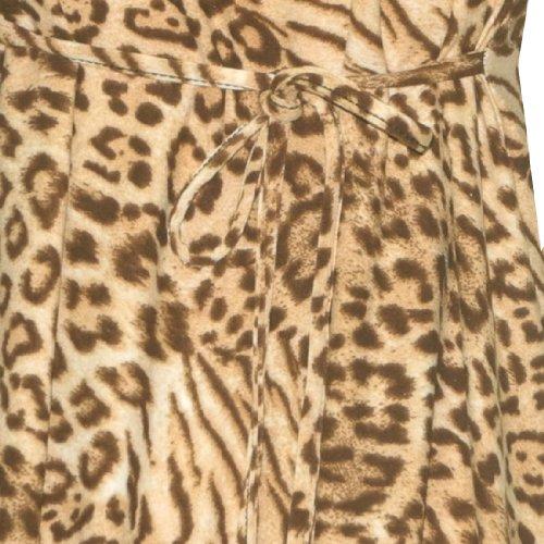 Damen Thai Exotisch 3/4 Hülsen Tierdruck-Fließend Lässig Kleid Braun & Schwarz