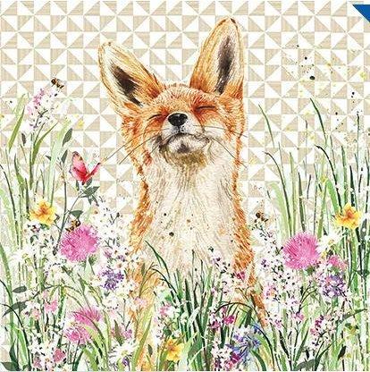 """Geburtstagskarte mit Fuchs in Blumen (NQ-LBA1), aus der """"Art of Nature""""-Reihe (engl. Version)"""