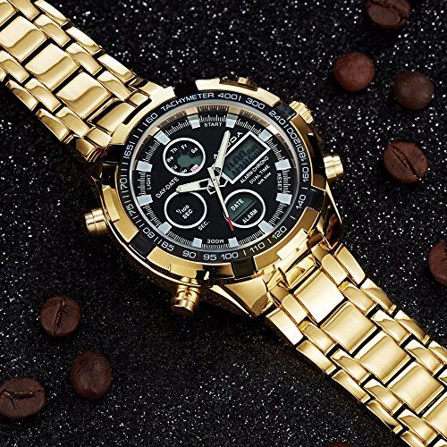 9e1bbeb5d8c4 Hombres Moda relojes marca de lujo oro Golden Relojes Hombres Deportes  quartz-watch.