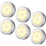 مصابيح حساسة للضوء من 6 قطع، مصابيح ليد ليلية لاسلكية تعمل بالبطارية للممرات والحمام وغرفة النوم والمطبخ، مصابيح للخزائن، مصا