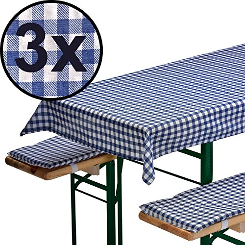 3x AUFLAGENSET FÜR BIERZELTGARNITUR in blau: 1 Tischdecke 240 x 70 cm + 2 gepolsterte...