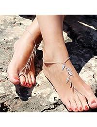 jovono pulsera de tobillo playa calzado con licencia borla cadena de pie para las mujeres y las niñas AT02