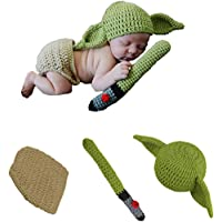 YUEFF Baby Yoda Infant Costume Hand-Knit Suit Novelty Toddler Yoda Halloween Costume Cosplay for 0-6 Month Baby Boy Girl