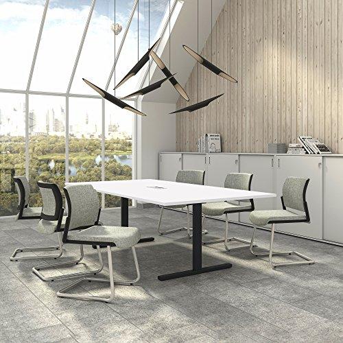 Weber Büro EASY Konferenztisch 240x120 cm Weiß mit ELEKTRIFIZIERUNG Besprechungstisch Tisch, Gestellfarbe:Anthrazit