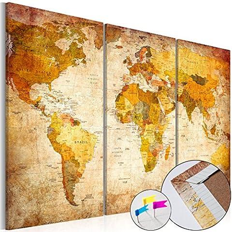 Weltkarte Pinnwand 135x90 cm Vlies Leinwand mit Samt-Haptik! Bilder Leinwandbilder