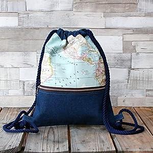 Mochila – La vuelta al mundo denim – Mochila con cordón náutico, hecha a mano en tela vaquera, lona y algodón, con bolsillo exterior cerrado con cremallera