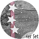matches21 Tischsets Weihnachten Platzsets MOTIV weiße Sterne & Holzbrett 4 Stk. Kunststoff abwaschbar rund, je Ø 38 cm