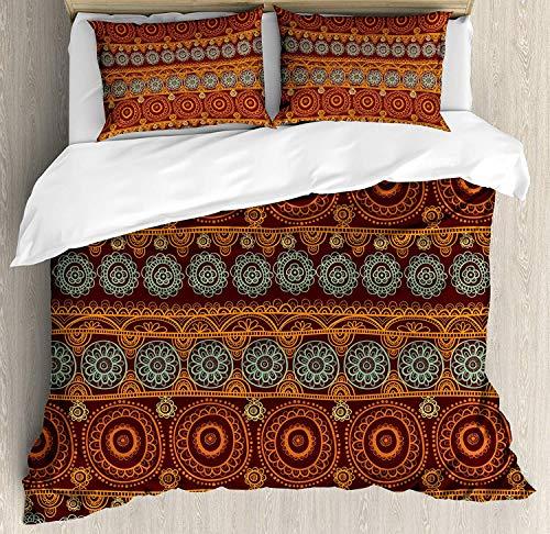 LnimioAOX Set Aquarell Blumen Blume Bettbezug in süßen Farben Sommergarten Aquarell Illustration, Set von 3 Stück dekorative Bettwäsche mit 2 Kissenbezügen, Senf grünen König -