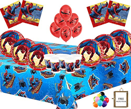 Marvel Spiderman Party Supplies Vajilla Infantil de cumpleaños Spiderman Decorations for 16- Spiderman Plates Globos de látex Marco DE Fotos Gratis & Globo
