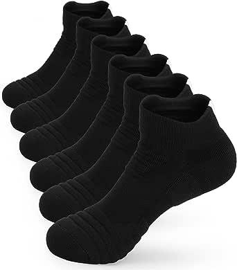 6 Pairs Running Socks Walking Hiking Socks Trainer Sports Ankle Socks for Mens Womens Ladies Anti Blister Cushioned Breathable Athletic Socks White Black Grey Multipack Cotton Socks