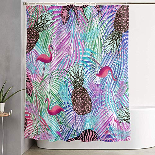 Duschvorhang,Waterproof Shower Curtains 60x70 inches Colorful Palm Pineapple Zebra Bathroom Shower Curtains Quickdry Fabric Bath Decor Set with Hooks Betsey Johnson Zebra