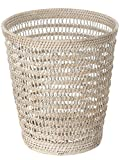 KOUBOO la Jolla ratán malla cesta redonda de residuos, miel marrón _ P, ratán y mimbre, Blanco efecto lavado, 27.94 x 27.94 x 30.48 cm