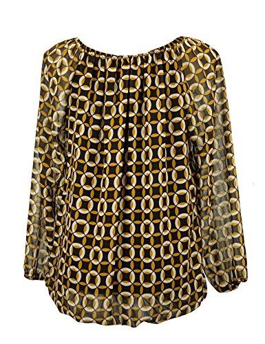 Moda Italy Damen Bluse Aus Chiffon in Carmen Style mit Polka Dots Tupfen Rauten Elegante Pump Ballonbluse Mehrfarbig 40 42 Schwarz-Mehrfarbig