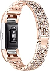 Saingace Luxury Crystal Stainless Steel Metal Wristband Strap Band for Fitbit Charge 2 (Rose Gold)