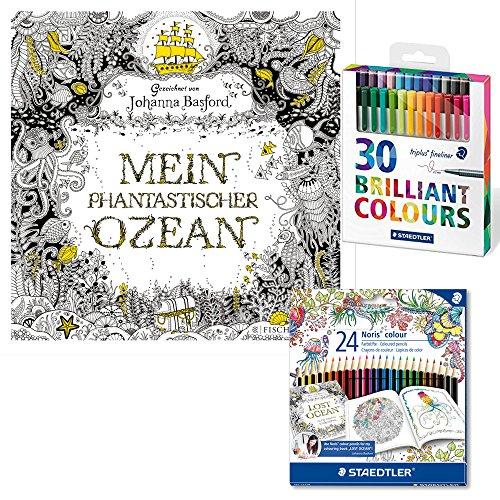 Zaubermalabenteuer 'Mein phantastischer Ozean' by Johanna Basford 3-tlg. Set inkl. 24 Farbstifte...