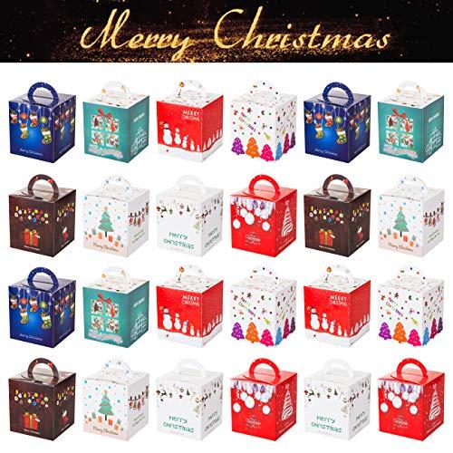 GWHOLE Set 24 Navidad Cajas Regalos Cajas Galletas