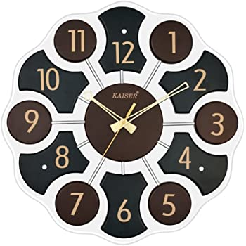 Kaiser Quartz Glass Wall Clock (40x40x5 cm, Black)