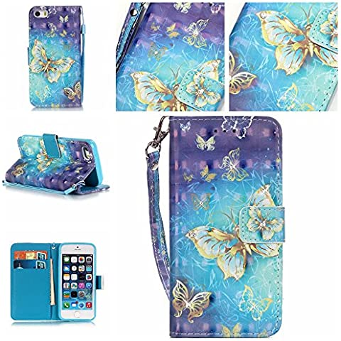 Cozy Hut Shinning Strass Diamante Custodia portafoglio / wallet / libro in pelle per iPhone SE 5 5S - Custodia flip cover in Design farfalla d'oro con scompartimento tessere e funzione supporto in multicolore blu bianco - farfalla d'oro