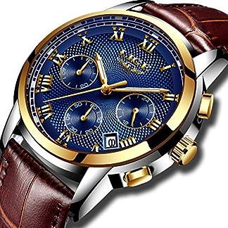 Uhren-Herren-Geschft-Luxus-Gent-Leder-Kleid-Armbanduhr-Analog-Quarz-Wasserdicht-Uhr-Beilufig-Leuchtend-Chronograph-Sportuhr-Blaues-Zifferblatt-fr-Mnner