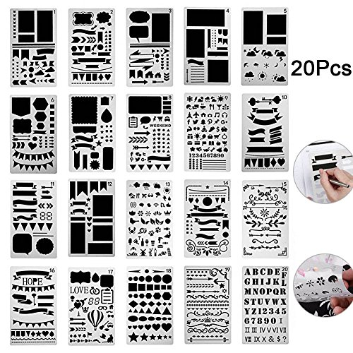 Rokoo 12/20 Pcs Kugel Journal Schablone Set Kunststoff Planer DIY Zeichnung Vorlage für Tagebuch Notebook Scrapbook
